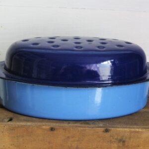 Vintage Blue Enamel Oval Casserole Dish Dutch Oven 50s 60s