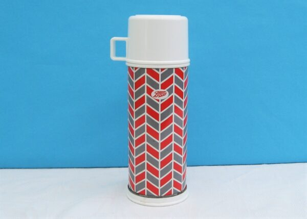 Vintage Boots Thermos Flask 450ml Red Grey Chevrons 1980s