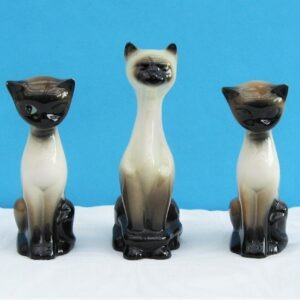 Vintage Ceramic Siamese Cat Ornaments Long Neck - 3 to choose from