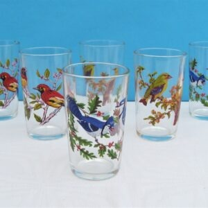 Vintage Glass Bird Tumblers x6 Made in France 60s 70s