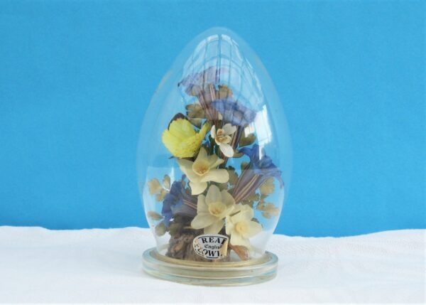 Vintage Glass Domed Captive Garden Dried Flowers M Curzon 70s 80s