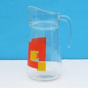 Vintage Large Glass Jug Pitcher Orange Geometric Print France 70 80s