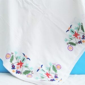 Vintage Beautiful Linen Hand Embroidered Tablecloth Large Rectangular