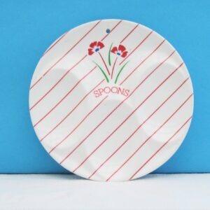 Vintage Melamine Spoon Rest M&S Red Floral Stripe 1980s