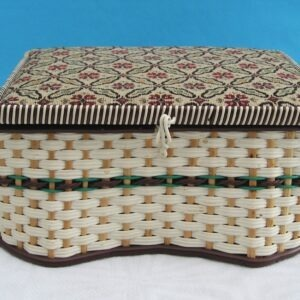 Vintage Plastic Wicker Sewing Box Tapestry Lid With Contents 70s 80s