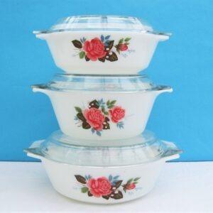 Vintage Pyrex Cottage Rose Lidded Casserole Dish 3 Sizes 60s 70s