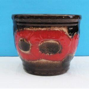 Vintage Scheurich Planter Red Poppy West German Pottery 1970s