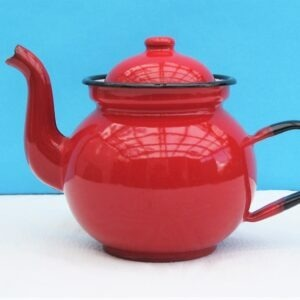 Vintage Small Red Enamel Teapot Made in Poland