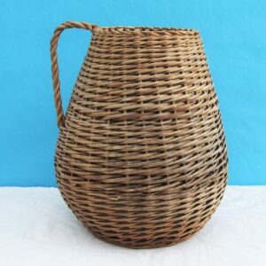 Vintage Wicker Jug Vase Basket with Handle Great for Dried Flowers Kindling etc