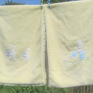 Vintage 60s Kamella Cot Set Cosy Blanket & Mattress Applique Rabbits Baby Yellow