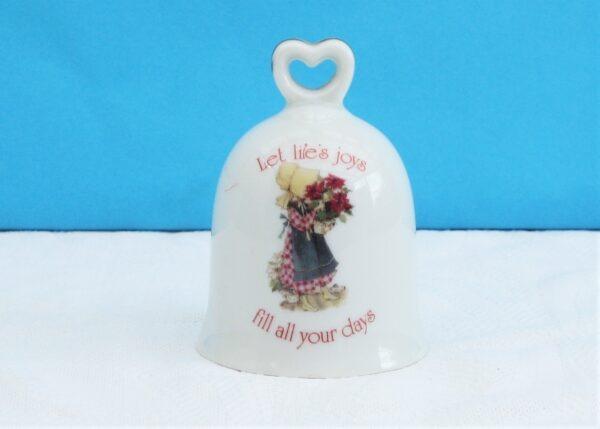 Vintage 80s Holly Hobbie Porcelain Bell Ornament Lifes Joys 1981