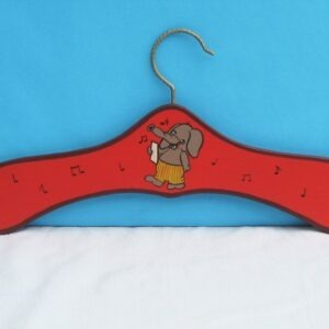 Vintage Hand Painted Wooden Childs Hanger Cute Singing Elephant