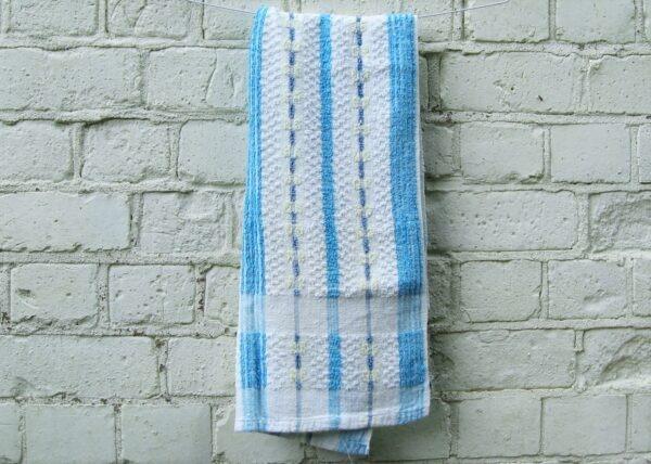 Vintage-Hand-Towel-Blue-Stripes-60s-70s-Campervan-Accessories