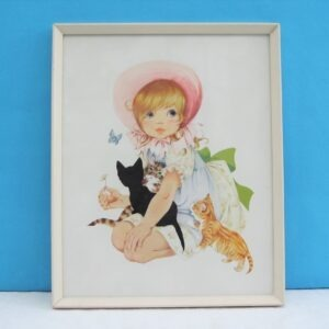 Vintage Cute Kitsch Framed Print Little Girl & Kittens by Normill 60s 70s