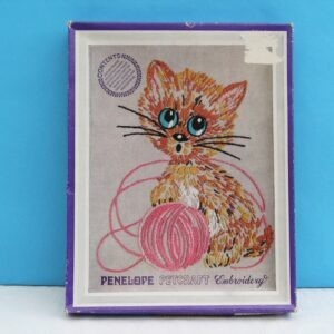 Vintage Petcraft Embroidery Kit by Penelope Mischief Kitten with Ball Of String 70s