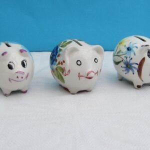 Vintage Secla Ceramic Mini Piggy Banks Hand Painted 1970s - Choice of 3