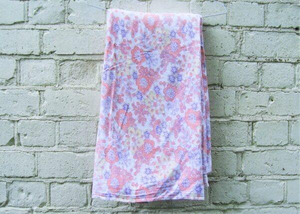 Vintage Single Flannelette Flat Sheet Flower Power Brushed Cotton 60s 70s