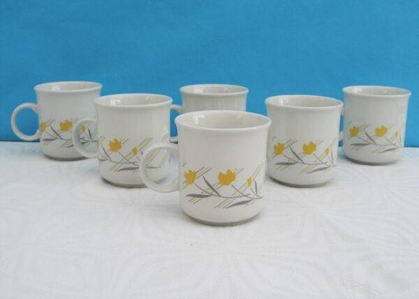 Vintage 80s Coloroll Spritz Mugs x 6 Yellow Tulip & Grey Stripe Design