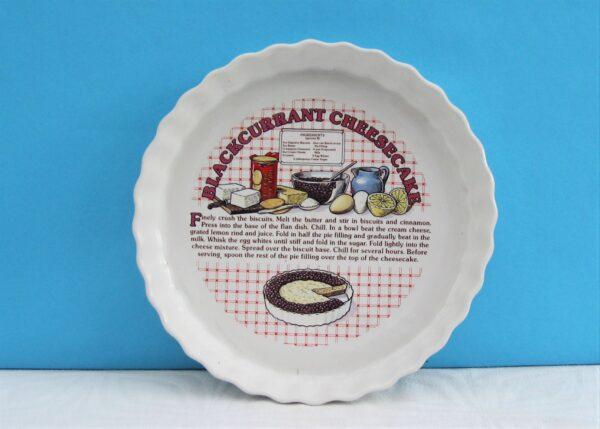 Vintage Ceramic Flan Dish Cheesecake Recipe 1980s