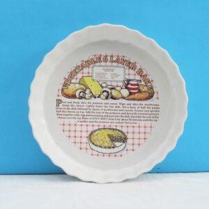 Vintage Ceramic Flan Dish Vegetable Layer Bake Recipe 1980s