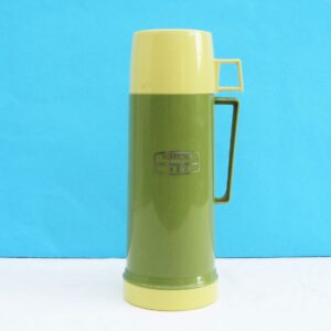 Vintage Green Plastic Thermos Flask Half Litre Camping Campervan 70s 80s