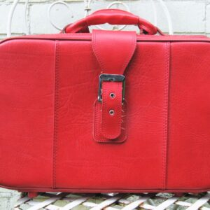 Vintage Red Vinyl Suitcase Small 1970s