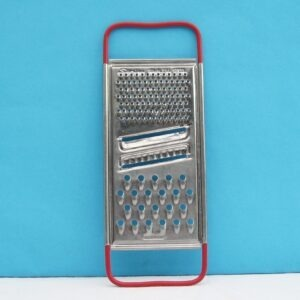 Vintage Skyline Flat Cheese Grater Slicer Stainless Steel Red Handles 70s 80s