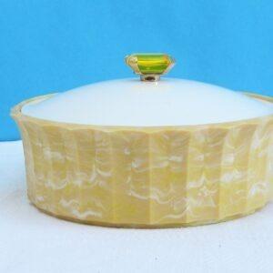 Vintage Avon Topaze Beauty Dust Unopened & Original Puff Yellow Plastic Pot Faux Jewel Lid 1960s