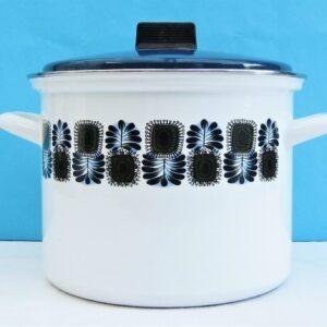 Vintage Blue Enamel Saucepan Casserole Pot Abstract Floral Design by Austria Email 1970s