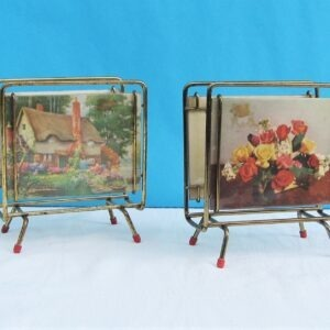 Vintage Kitsch Brass Footed Letter Racks x2 with Removable Photo Picture Sides 50s 60s