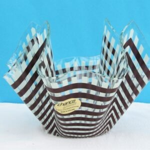 Vintage Chance Glass Handkerchief Vase Brown Gingham