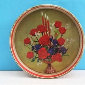 Vintage Christmas Round Biscuit Tin Crawfords Festive Red Gold Candle Design 50s 60s