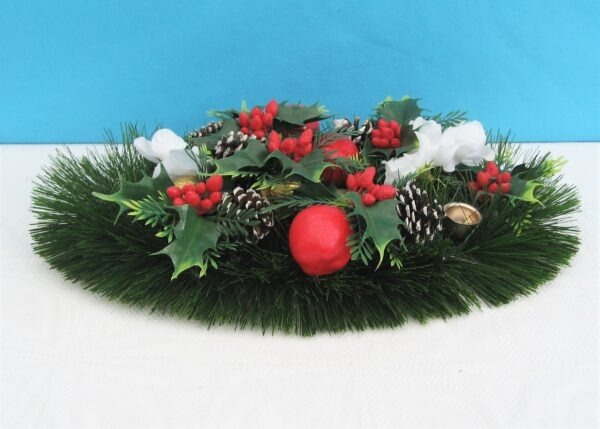 Vintage Christmas Decoration Table Centrepiece Candle Holder Plastic Holly Berries Apples etc 70s 80s