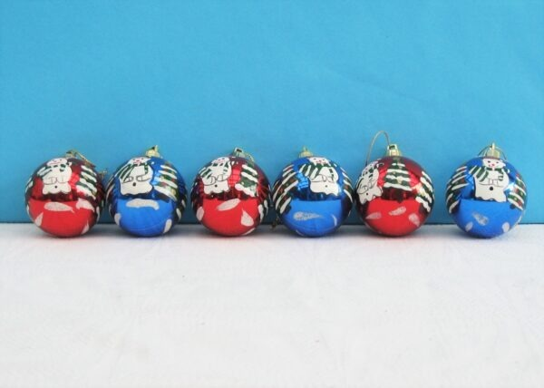 Vintage Christmas Decorations Hand Painted Glass Baubles x6 Red & Blue 80s 90s