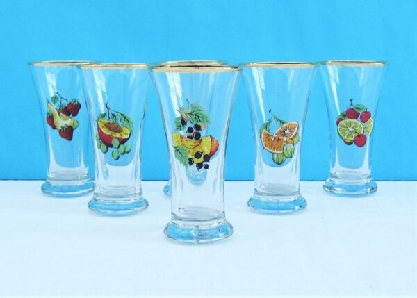 Vintage Kitsch Drinks Glasses Tumblers x6 with Colourful Fruit Design 60s 70s