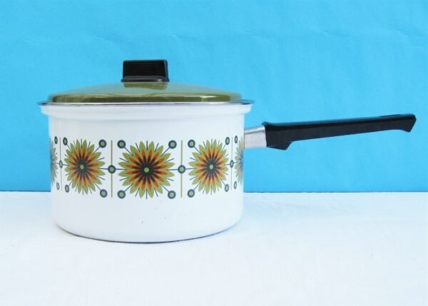 Vintage Green Enamel Saucepan Abstract Daisy Design by Austria Email 1970s