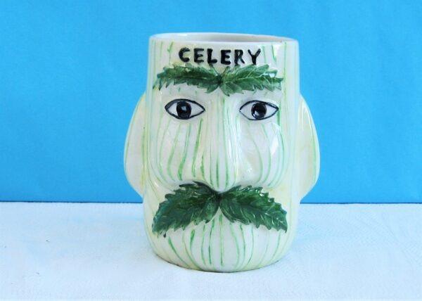 Vintage Kitsch Moustachioed Celery Face Pot by Price Kensington 1970s