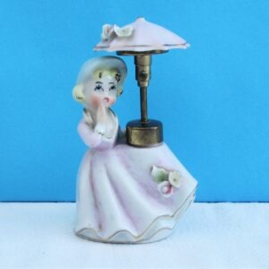 Vintage Porcelain Girl Lady Perfume Atomiser with Umbrella Made in Japan 60s 70s