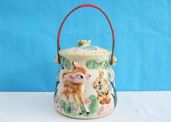 Vintage-RARE-Ceramic-Bambi-Cookie-Jar-Biscuit-Barrel-50s-60s-Made-In-Japan