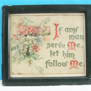 Vintage Religious Christianity Framed Bible Quote Verse Picture Text Floral 30s 40s
