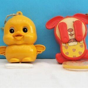 Vintage Sankyo Baby Cot Pram Pull String Musical Toys 1970s - Chick or Dog