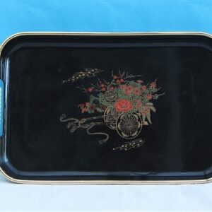 Vintage Kitsch Small Drinks Tray Black Plastic Oriental Cart Design 60s 70s