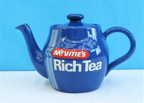 Vintage TG Green Mcvities Rich Tea Biscuits Blue Ceramic Teapot 70s 80s