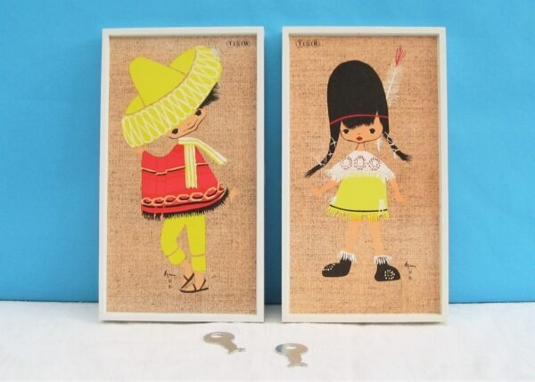 Vintage TSB Bank Wall Safe Money Boxes Pictures - Native American Girl or Mexican Boy 60s 70s