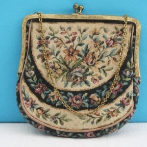 Vintage Tapestry Small Evening Bag Gold Clasp & Chain Handle 60s 70s