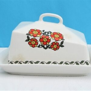 Vintage Taunton Vale Red Daisy Cheese Butter Dish 1970s Devon Pottery