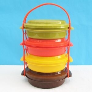 Vintage Tupperware Style Picnic Tiffin Stacvking Containers
