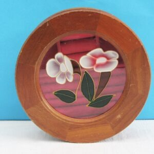 Vintage Wooden Round Jewellery Box Stained Glass Floral Lid Pink Inside 1980s