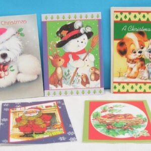 Vintage Christmas Cards x5 with Envelopes Cute Animals Kitsch 1980s