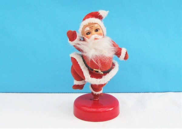 """Vintage Christmas Decorations 5"""" Dancing Flock Santa on Stand 70s 80s"""